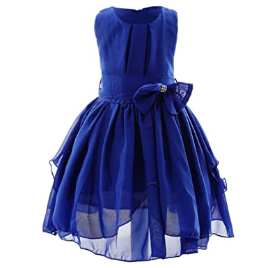 Cyond For 1-11 Years Old, Fashion Kids Girl Solid Bowknot Dress Princess Skirt