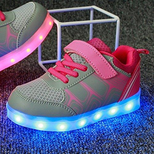 Sneakers Taglia Scarpe 7 DoGeek Suola bambini Scarpe Con Bright Luci USB dei Tennis Una LED Led Scarpe Luce Con Unisex Carica di Luminosi Nella Colore Bambino Rosa Bambina Sneakers Luci Scarpe Mejor Shoes InnZSxf