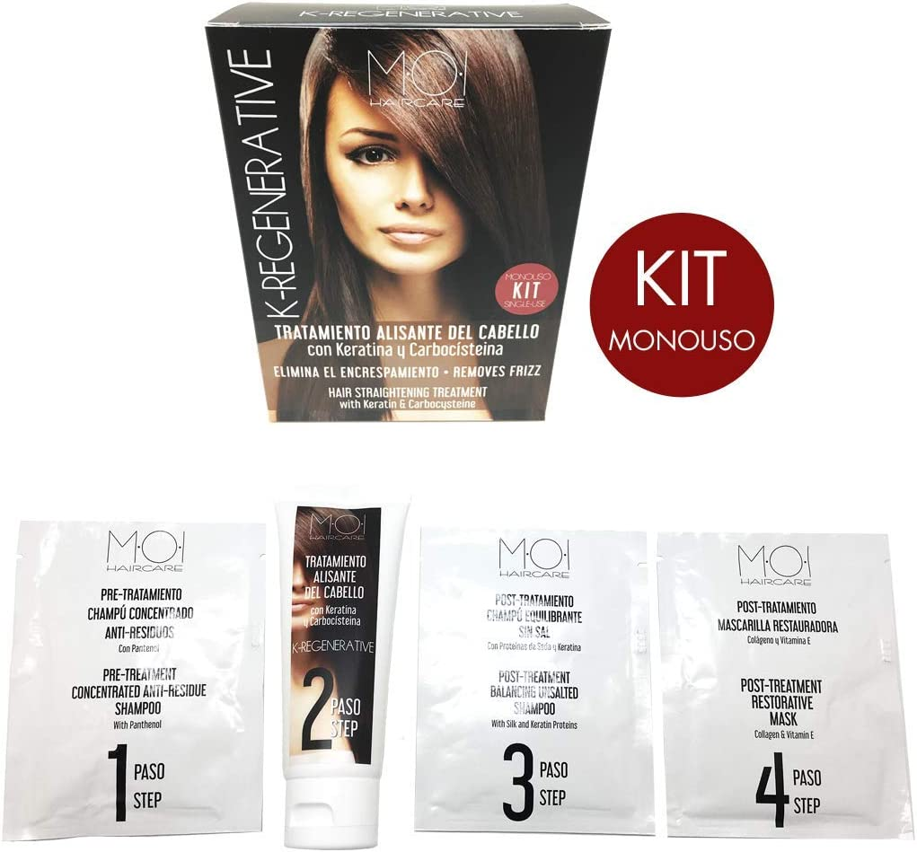 K-REGENERATIVE Tratamiento intensivo antiencrespamiento KIT Monouso con Keratina y Carbocisteína MOI HairCare