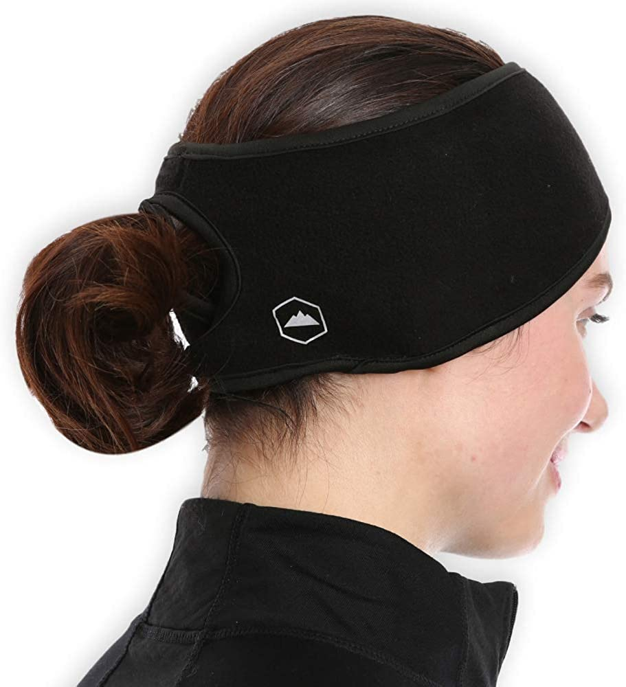 Chuangdi 2 Pieces Winter Ponytail Hair Bands Women Ponytail Headband Ear Warmers Running Sweatband Female Yoga Hair Bands for Women Outdoor Sports 2 Colors