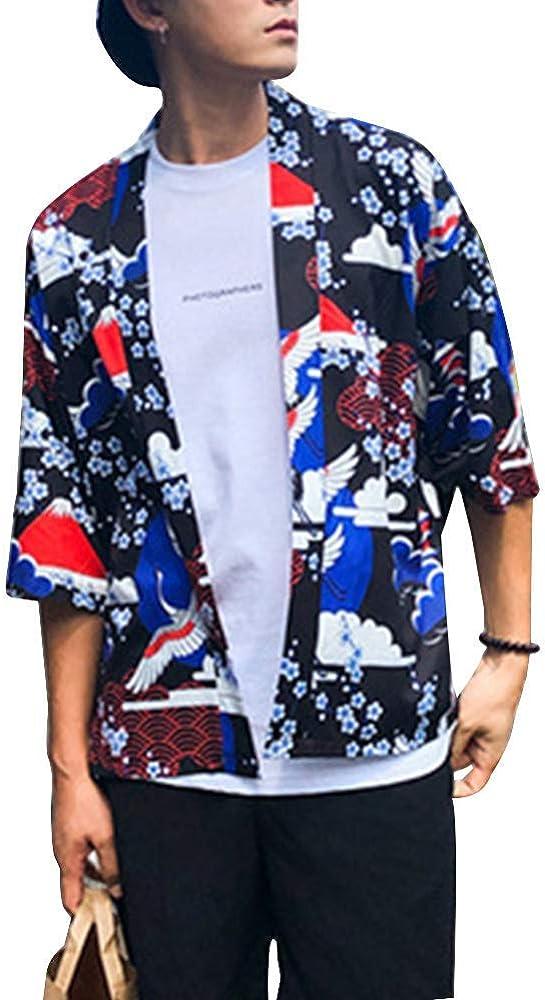 Shaoyao Hombres Camisa Japonés Cardigan Yukata Estilo Kimono Impresos Jacket Azul S: Amazon.es: Ropa y accesorios
