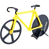 Bapdas No-Stick Stainless Steel and Dual Cutting Bicycle Pizza Cutter with Kickstand(Yellow)
