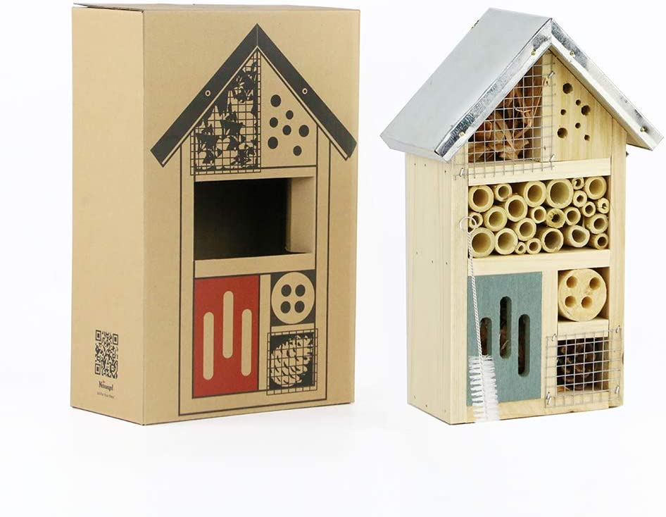 Niteangel Wooden Insect House, Perfect Home for Ladybirds and Lacewings, as Well as Bees, Size 10 x 6 x 3.4 inch (Blue)