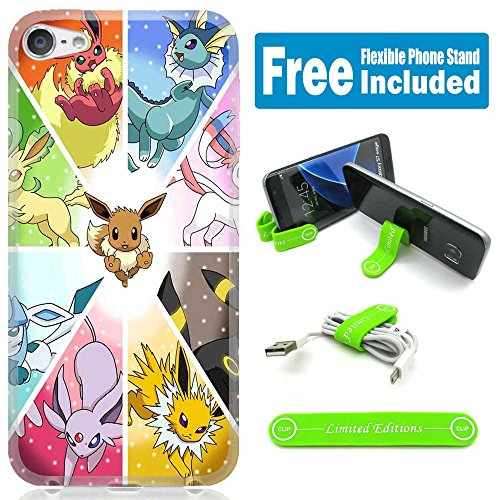 [Ashely Cases] Apple iPod Touch 5th/6th Generation Cover Case Skin with Flexible Phone Stand - Pokemon Eevee Division - Ipod Touch Pokemon Case