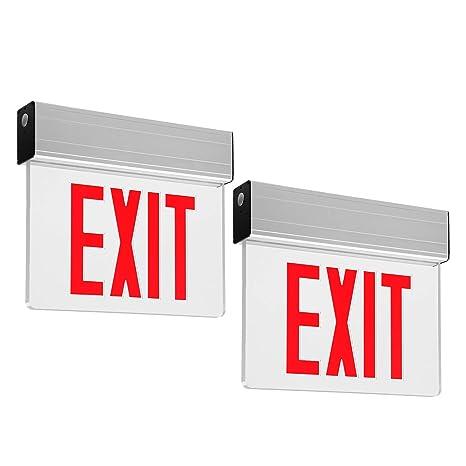leonlite led edge lit red exit sign single face with battery backup, ul listed, ac120v 277v, ceiling left end back mount emergency light for hotel, 277V Light Electrical Wiring Diagrams