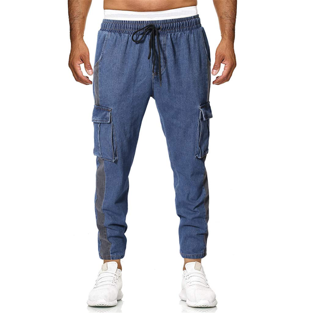 Men Pants Jeans Casual Slim Fit 2019 New Summer Premium Elastic Waist with Multi-Pocket (M, Blue)