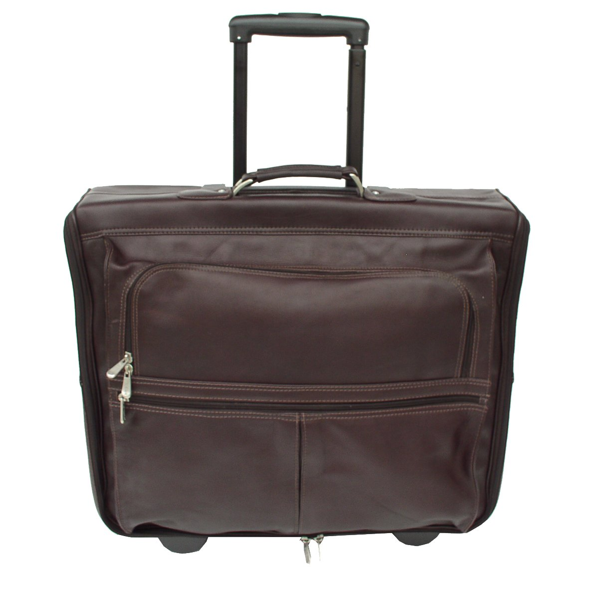Piel Leather Traveler Garment Bag on Wheels in Chocolate by Piel Leather
