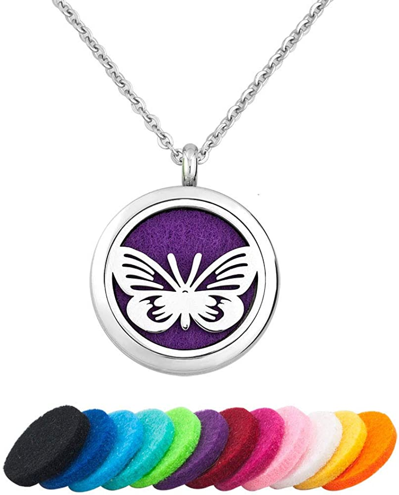 CLY Jewelry Aromatherapy Essential Oil Diffuser Necklace Locket Pendant Design of Love Butterfly Dragonfly Animals with Colorful Refill Pads Ideal Gift for Girl Women Men Boy Birthday Mother's Day