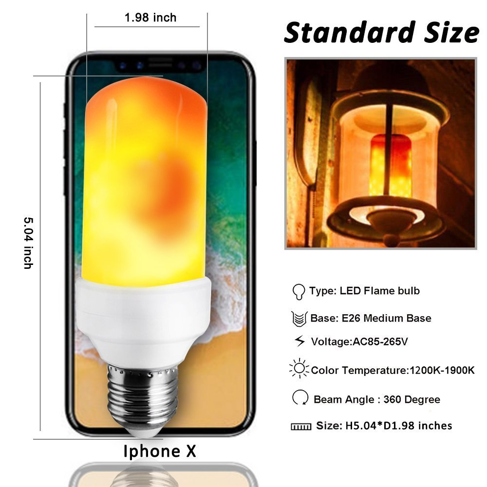 Decorative Lamp for Hotel Party Flickering Effect Flame Bulb E26//E27 Medium Base 3W KINDEEP LED Flame Bulb Pack of 1 3 Modes Decative Lighting Lamp