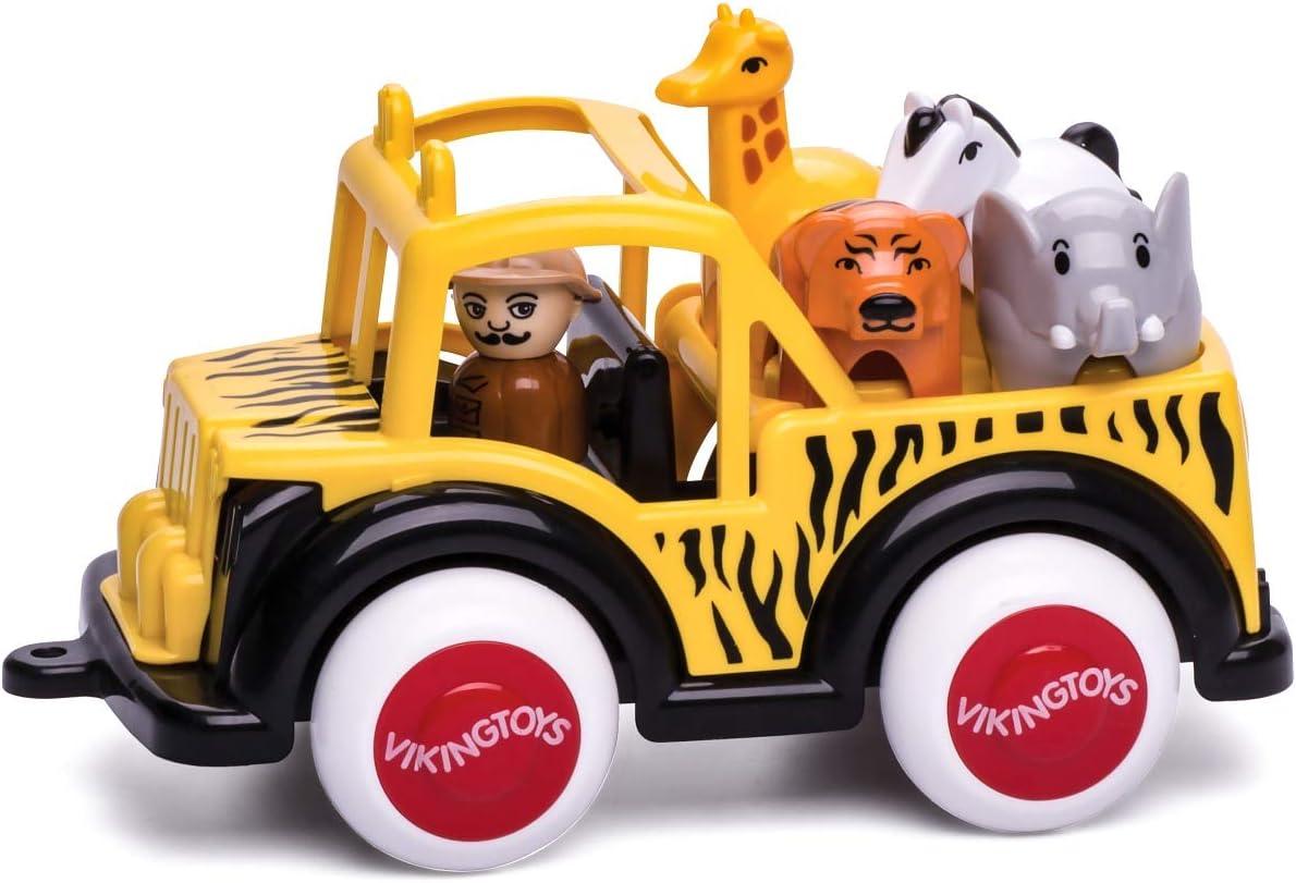 Includes Driver Dishwasher Safe Soft Plastic 7.5 Vehicle for Ages 1 and Up Elephant Zebra /& Tiger Viking Safari 4 x 4 Giraffe