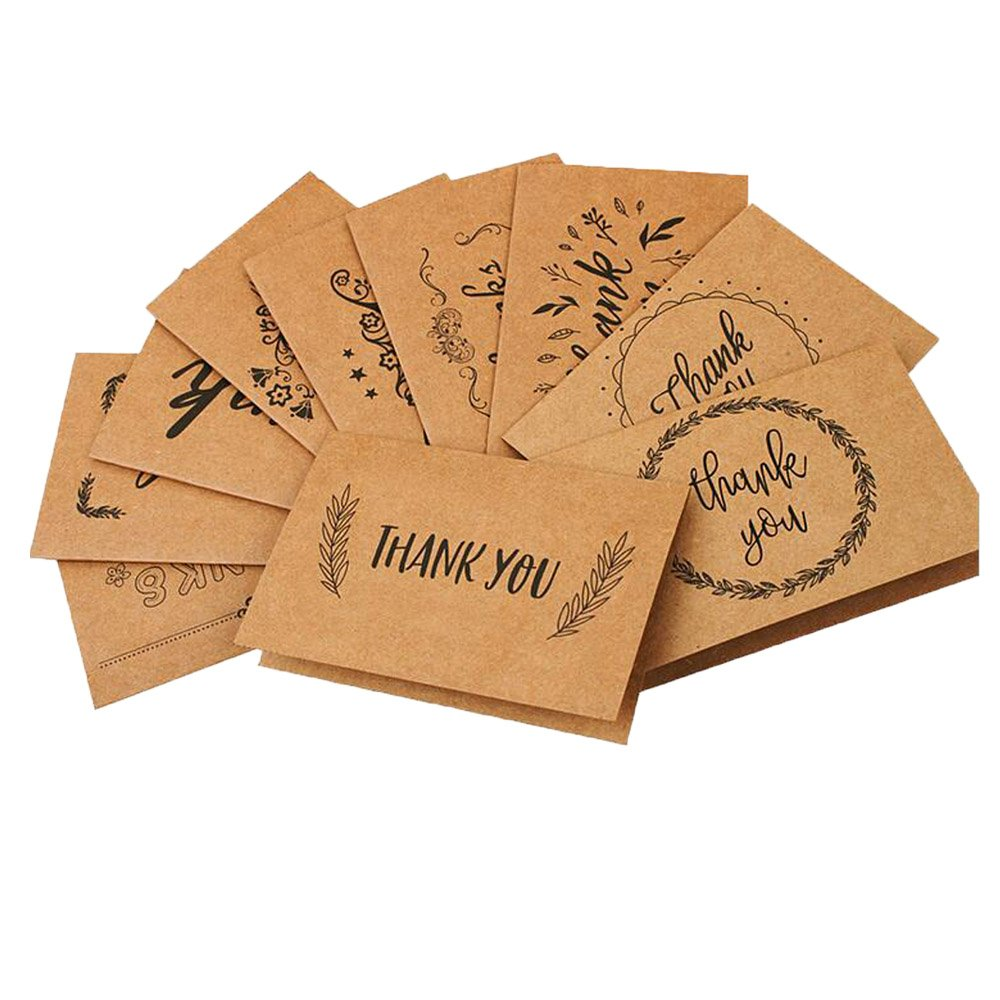 MissYou 24 Pack Assorted Fold Nostalgic Retro kraft Paper Thank You Greeting Card With Free Envelope and Sealing Sticker Ymiss