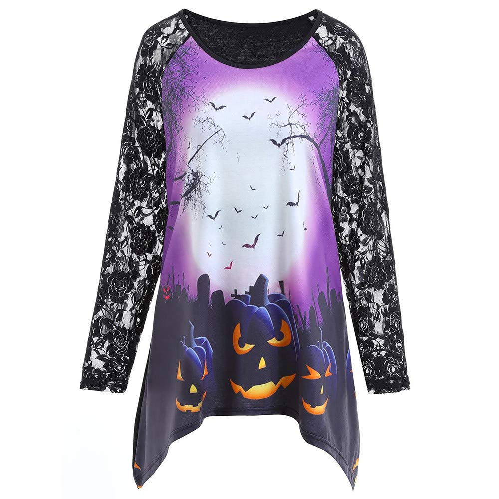 Plus Size Halloween Tops, MEEYA Women Party Lace Printed Long Sleeve Blouse Shirt MEEYA-1732