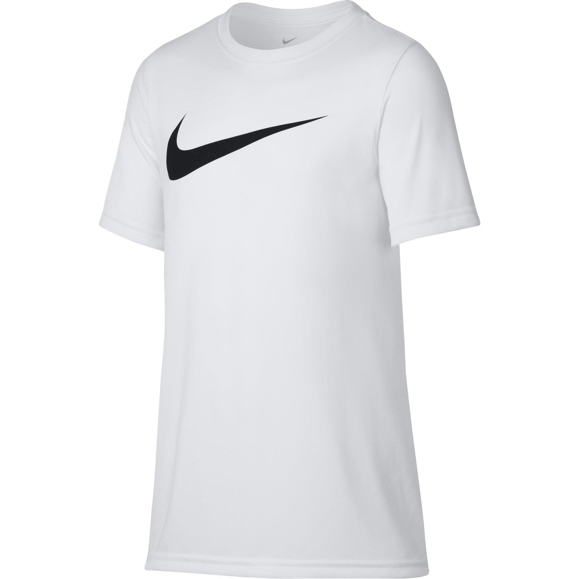 NIKE Boys' Dry Short Sleeve Swoosh Solid Tee, White/Black, X-Small