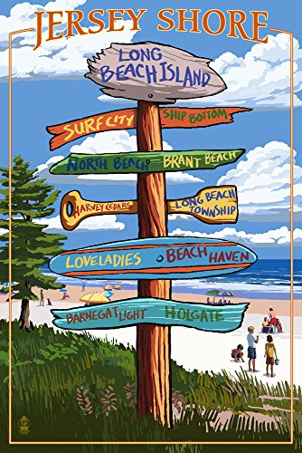 Long Beach Island, New Jersey - Destinations Sign (12x18 SIGNED Print Master Art Print w/Certificate of Authenticity - Wall Decor Travel Poster)