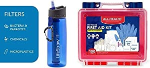 LifeStraw Go Water Filter Bottle & All Health First Aid Kit