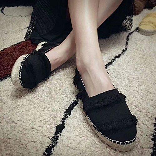 Pescadores De Zapatos Zapatos Tejidos Mujer Pescadores XINGMU Negro Zapatos Zapatos Cáñamo De De Seda Zapatos Planos Zapatos De 4zwxvx10q