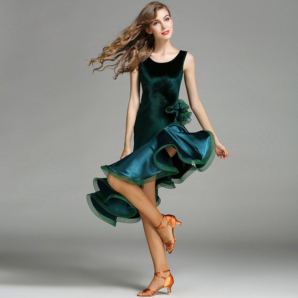 人気商品の 現代の女性の大きな振り子のファッションの袖なしモダンダンスドレスタンゴとワルツダンスドレスダンスコンペティションスカートラテンドレスダンスコスチューム B07HHQKVPC Large|Green Green Green Large Large, JR東日本商事いいものステーション:af6b3d62 --- a0267596.xsph.ru