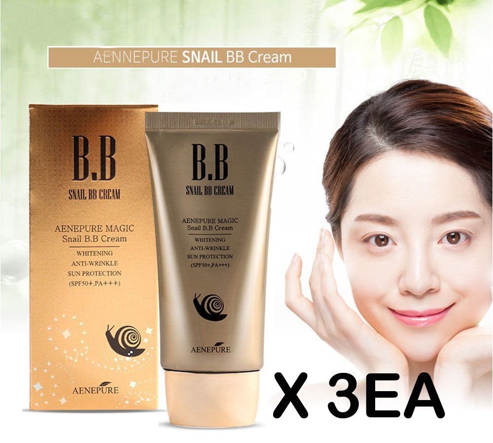 [Aenepure] Snail BB cream 50ml X 3EA / SPF50+ PA +++ / Whitening, Anti-Wrinkle, Sun protection / Korean Cosmetics