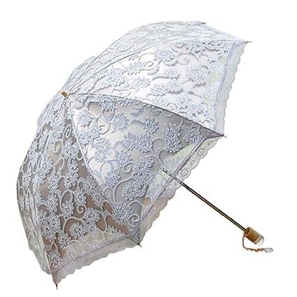 Leegoal Ladies Umbrella Lace Parasol Folding Umbrella Sun Shade Anti-uv (grey)