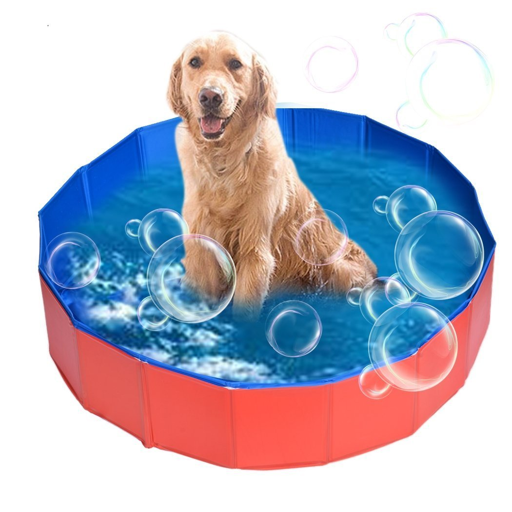 Viment Foldable Pet Swimming Pool Bathing Tub Bathtub Dog Cats Washer - 32inch.D x 8inch.H