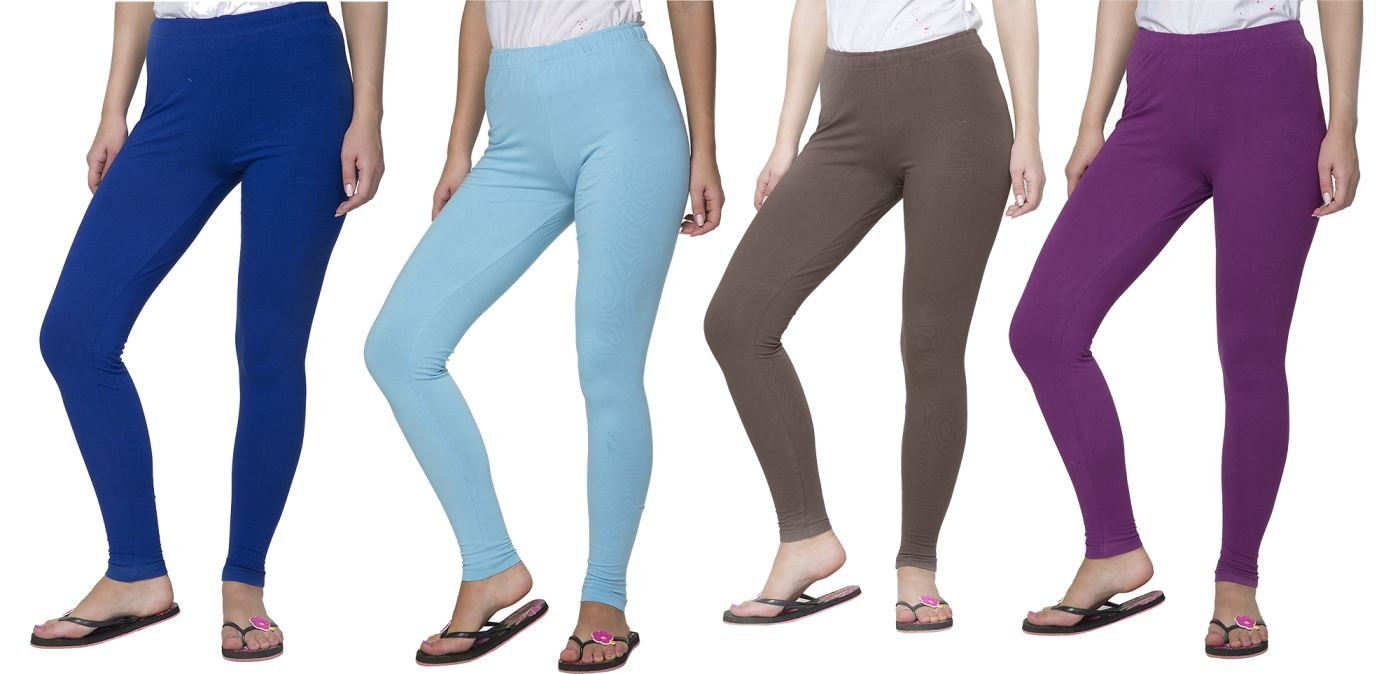 Clifton Women's Cotton Spandex Fine Jersey Leggings Pack Of 4-Assorted-4-9XL
