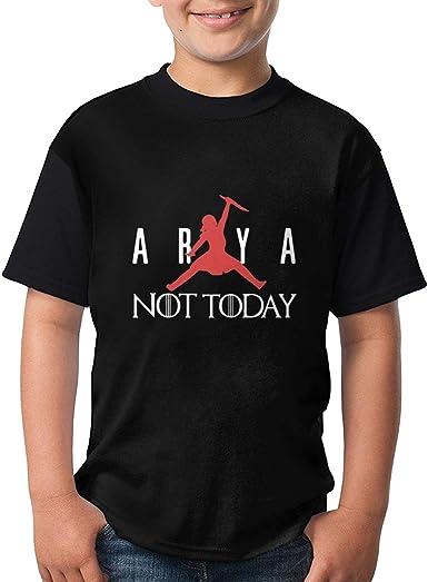Arya Stark Jordan Logo Not Today Kids Camisetas Ligero Gráfico Manga Corta Adolescentes Tops: Amazon.es: Ropa y accesorios
