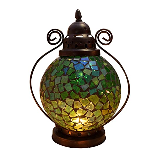 Fjfz Decorative Vintage Partylite Colorful Mosaic Glass Wrought Iron Tea Light Candle Holder Hanging Hurricane Lantern, Yellow, Green and Orange