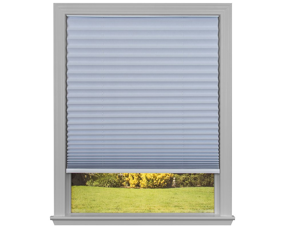 "Easy Lift Trim-at-Home Cordless Pleated Light Blocking Fabric Shade White, 36 in x 64 in, (Fits Windows 19""- 36"")"