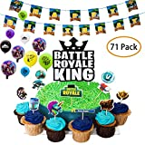 DMight Birthday Party Supplies for Game Fans, 71 Pcs Party Favors - 49 Pcs Cake Topper, 21 Pcs Balloons(8 styles), 1 Pcs Banner