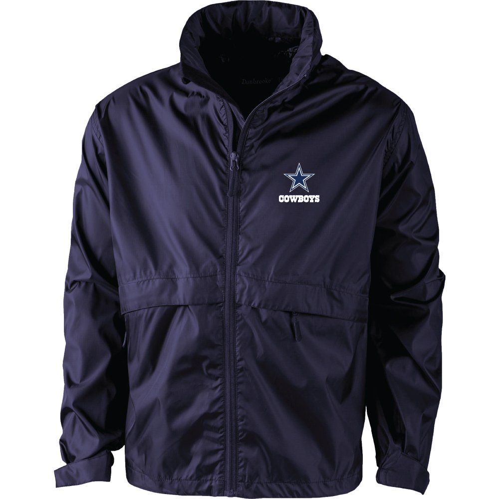 NFLダラスカウボーイズメンズ5490sportsman防水ウィンドブレーカージャケット、海軍、ミディアム   B06XJFLHD8