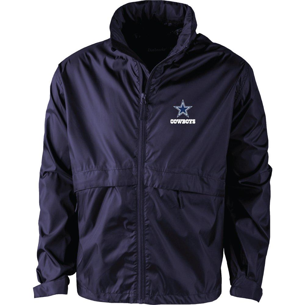 NFL Dallas Cowboys Mens Sportsman Waterproof Windbreaker Jacket Large Navy