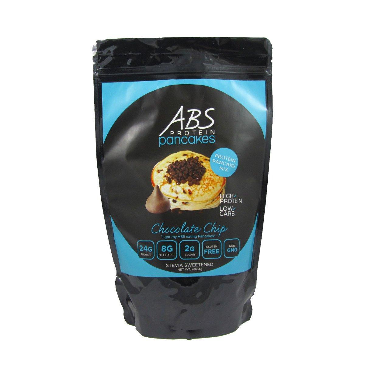ABS Protein Pancakes - Chocolate Chip Pancake and Waffle Mix - 26g Protein Pancake Gluten Free - High Protein Low Carb - 1 lb. Package by ABS Protein Pancakes
