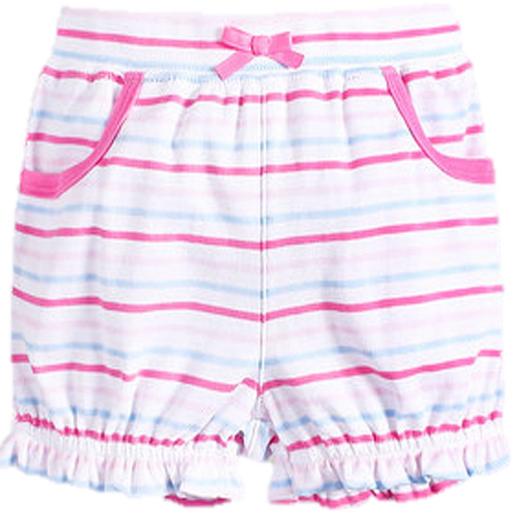 MOM & BAB 4T Cute Organic Cotton Girls Shorts- 100% Soft Cotton| Limited Edition! | Cute & Comfortable (Pink/Blue/White)