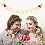 Tinksky FALL IN LOVE Bunting Banner for Proposal Wedding Anniversary Valentines Day Prom Shower Romantic Evening