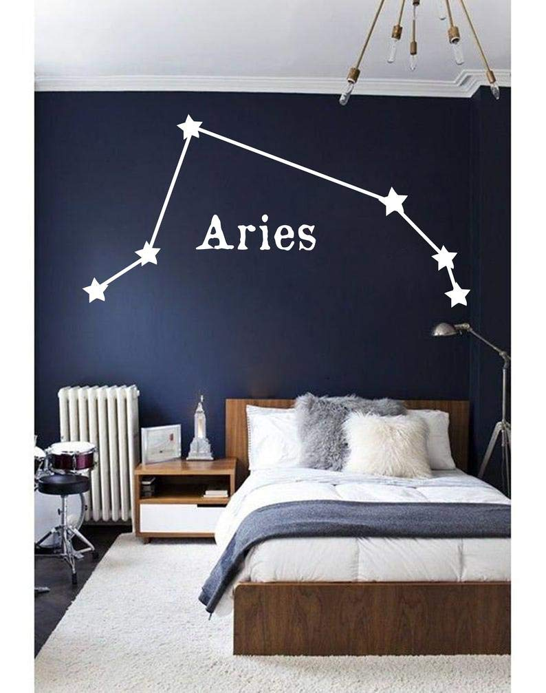 Aries Wall Decal Zodiac Constellation Decal Cancer Taurus Virgo Leo Pisces Decal Decal Gemini Decal Aquarius Wall Art Vinyl Stickers 44x75 inches