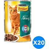 Purina Friskies with Duck in Gravy Cat Food Single Serve Pouch Pack of 20 Pieces, 100g