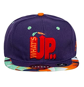 729cc66604b ... best price nike hare jordan vii hat whats up jock strapback court cap  purple mixed graphics ...