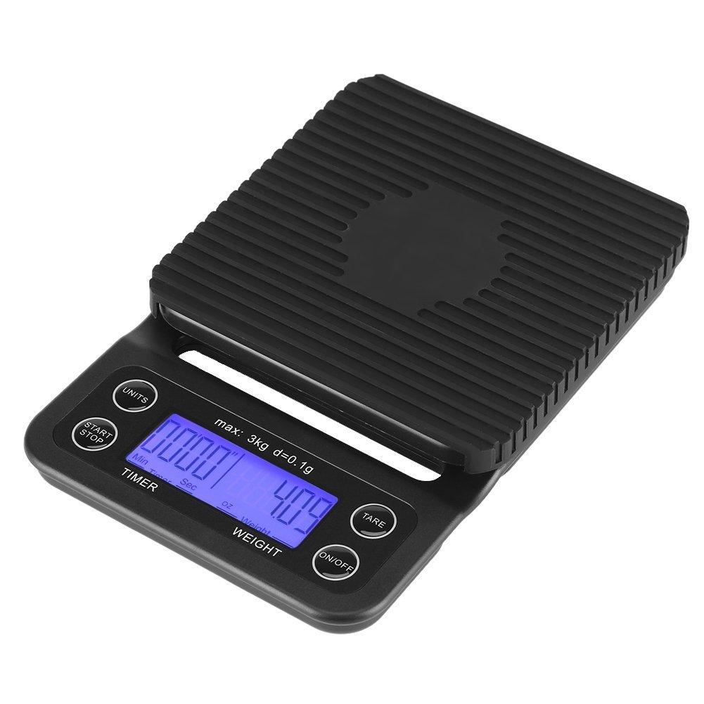 3kg G/0,1g Numérique aliments Balance ABS temporisé Cuisine Balance numérique Précision Balance Cuisine poche avec rétro-éclairage écran LCD et fonction tare élégant noir (Piles non incluses), Blau Licht Fdit