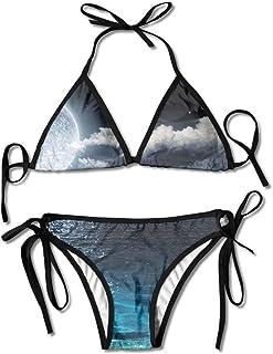 Moon Space Planet Star Women's Tie Side Bottom Bikini Suits Two Pieces Swimwear
