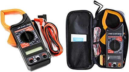 Vetrineinrete/® Pinza amperometrica digitale misuratore con puntali con display lcd rilevatore corrente elettrica tester resistenza multimetro per misurare tensione con protezione da sovraccarico G13