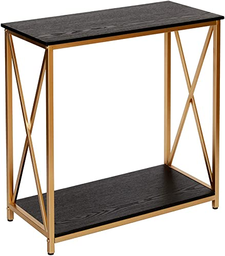 GHQME Industrial Console Table,Sofa Table with Storage Shelf,Side Table and Entryway Table,Living Room,Hallway,Entryway,Easy Assembly and Metal Frame 30.7 x 13.7 x 29.9 , X-Shaped-Black