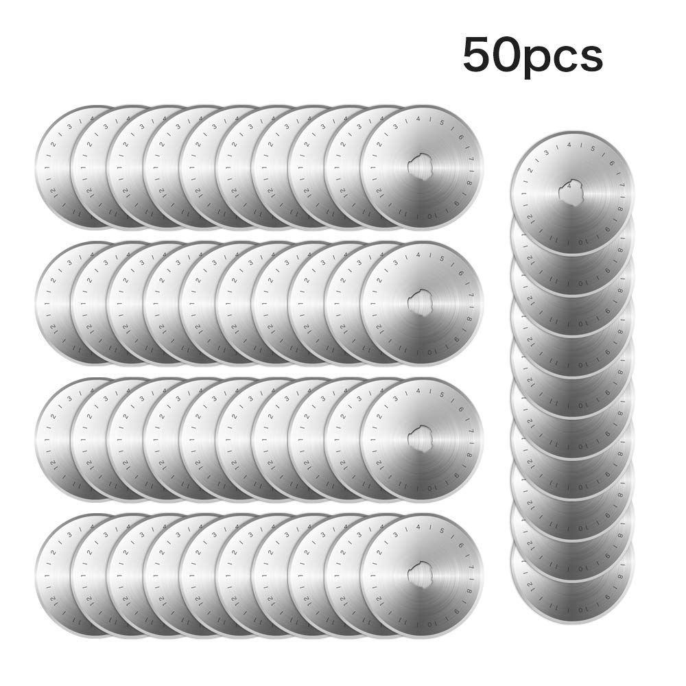 Rotary Cutter Blades,CSDYNG 50 Pcs 45mm Patchwork Replacement Improved Cut Fits Circular Refill Sewing Fabric Leather Paper Roller Craft Steel Quilting Scrapbooking,Sharp and Durable by CSDYNG