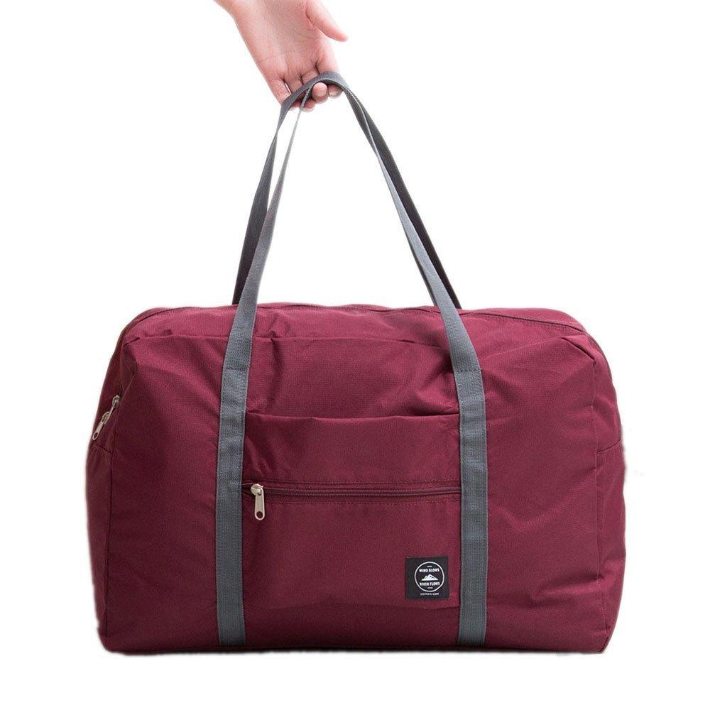 Travel Foldable Waterproof Tote Bag - Mr.Pro Carry Storage Luggage Bag, Fashion Trip Organized Zipper Tote Handbag (Wine)