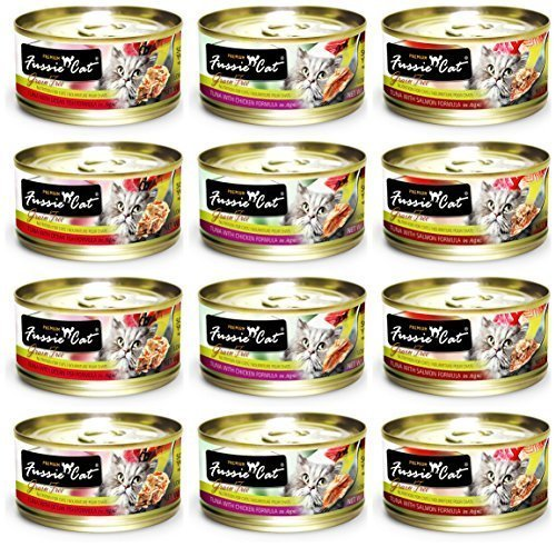 Fussie Cat Premium Grain Free Canned Cat Food 3 Flavor Variety Bundle: (4) Tuna with Chicken, (4) Tuna with Salmon and (4) Tuna with Ocean Fish, 2.82 Oz Each (12 Cans Total) (2.82oz)