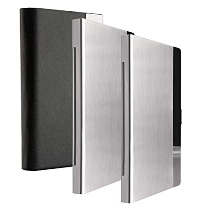 kisswill business card holder 3 pack black leather business card case with magnetic shut and - Metal Business Card Case