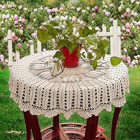 Amazon Ustide 51 Inch Round Crochet Tablecloth Fish Pattern
