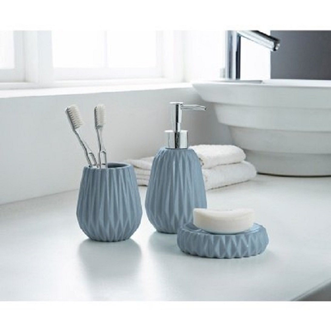 A2Z Home Solutions Bathroom Accessories Set 3pc Soap Dispenser, Soap Dish, toothbrush holder Tumbler/Jagged Edge (Black) Bathroom 98346