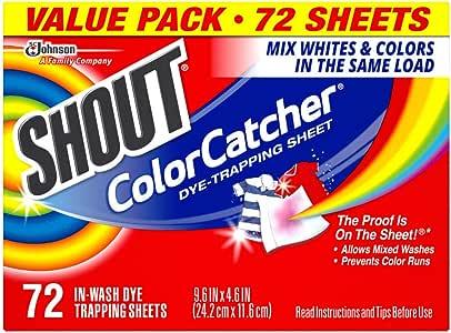 Shout Color Catcher Sheets for Laundry, Maintains Clothes Original Colors, 72 Count