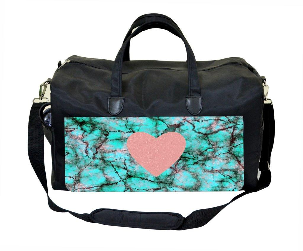 Pink heart on Marble Print Gym Bag