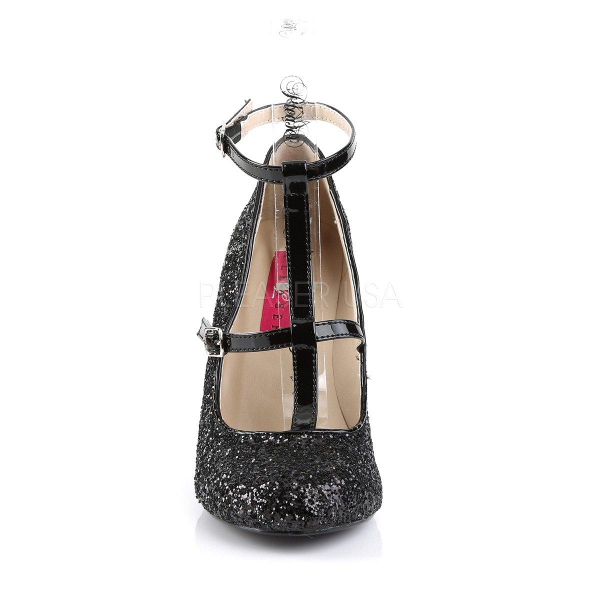 Higher-Heels Rosa Rosa Rosa Label Big Größe Glitter Pumps Queen-01 mit T-Spange schwarz f2d593